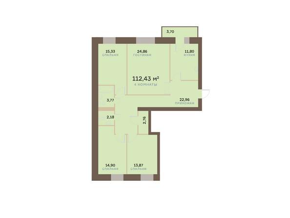 Планировки Жилой комплекс ЮЖНЫЙ БЕРЕГ мкр, 17 дом - Планировка четырехкомнатной квартиры 113,54 кв.м