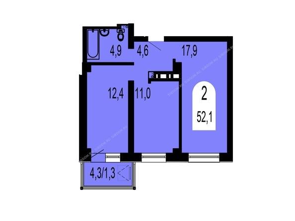 Планировки Жилой комплекс ТИХИЕ ЗОРИ мкр, 1 дом (Красстрой) - Планировка двухкомнатной квартиры 52,1 кв.м