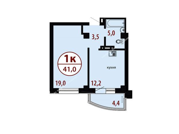 БЕЛЫЕ РОСЫ мкр, 26 дом: Секция №1. Планировка однокомнатной квартиры 41,0 кв.м