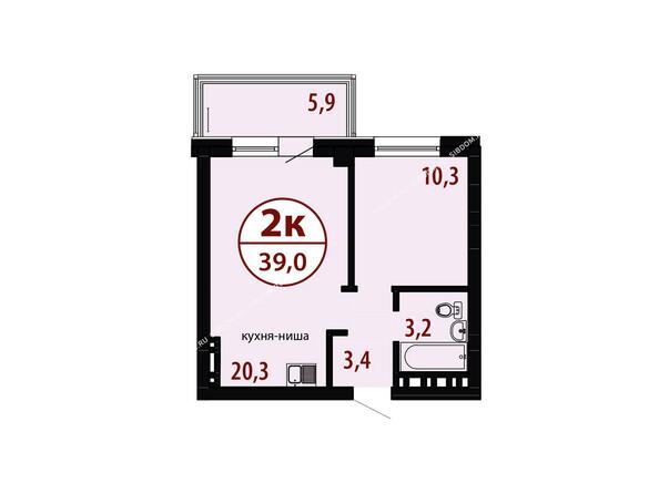 Секция №1. Планировка двухкомнатной квартиры 39,0 кв.м