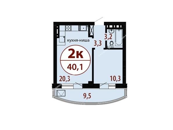 Планировки новостроек БЕЛЫЕ РОСЫ МКР, 25 дом - Секция 2. Планировка двухкомнатной квартиры 40,1 кв.м