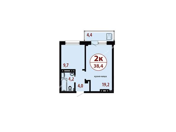 Планировки новостроек СЕРЕБРЯНЫЙ мкр, квр 1, 1 дом - Секция 1. Планировка двухкомнатной квартиры 38,4 кв.м