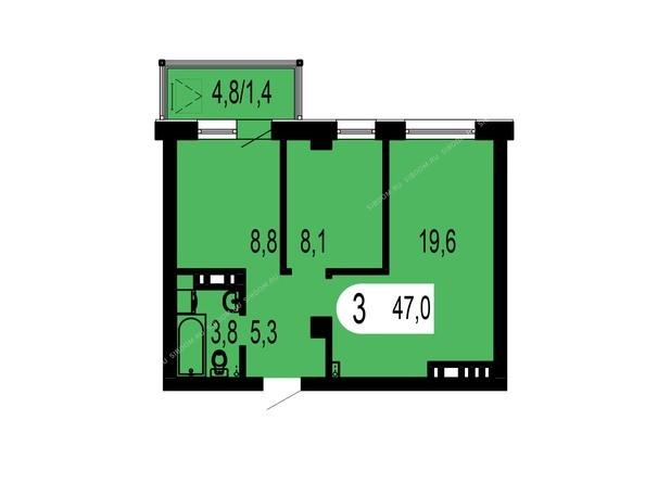 Планировки Жилой комплекс ТИХИЕ ЗОРИ мкр, 1 дом (Красстрой) - Планировка трехкомнатной квартиры 47 кв.м