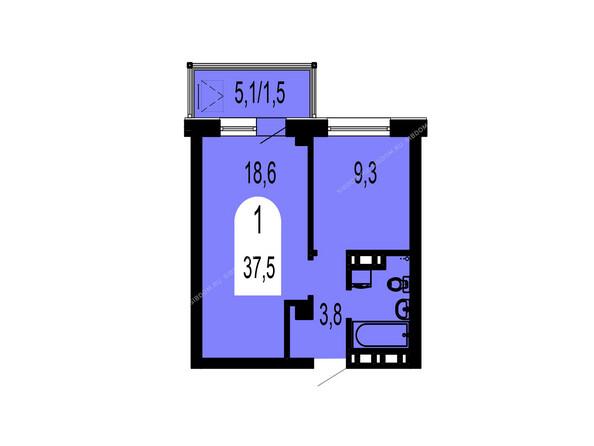 Планировки Жилой комплекс ТИХИЕ ЗОРИ мкр, 1 дом (Красстрой) - Планировка однокомнатной квартиры 37,5 кв.м