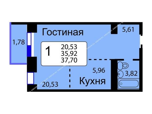 Планировки новостроек РЯБИНОВЫЙ САД ж/к, 3 оч, 2 этап - Б/С - 11. Планировка однокомнатной квартиры 37,70 кв.м. Этажи 10-16.