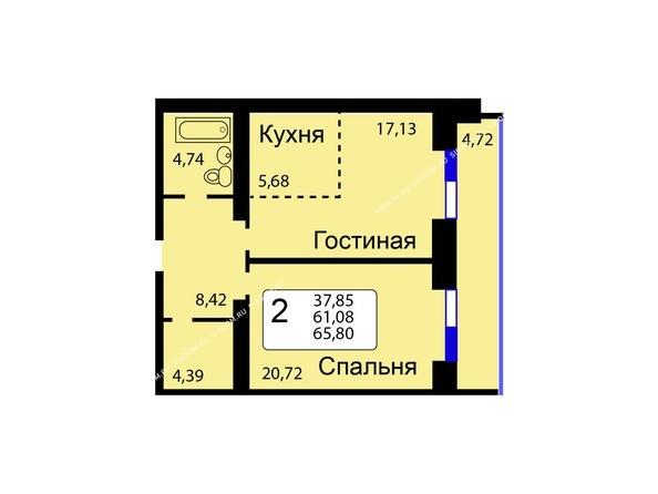 Б/С - 11. Планировка двухкомнатной квартиры 65,80 кв.м. Этажи 1-9.
