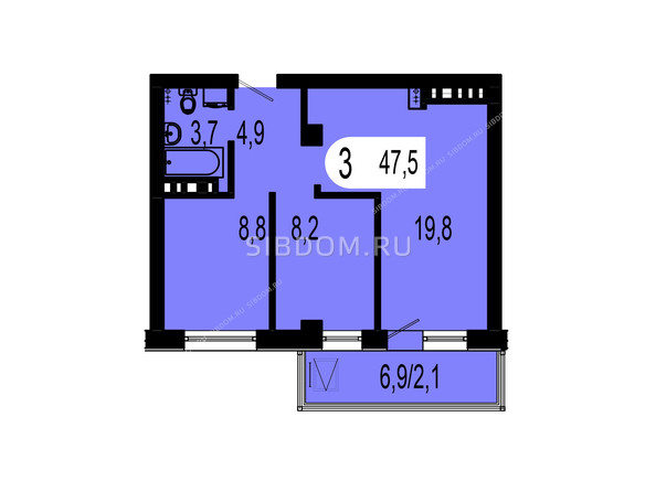Планировки Жилой комплекс ТИХИЕ ЗОРИ мкр, 1 дом (Красстрой) - Планировка трехкомнатной квартиры 47,5 кв.м