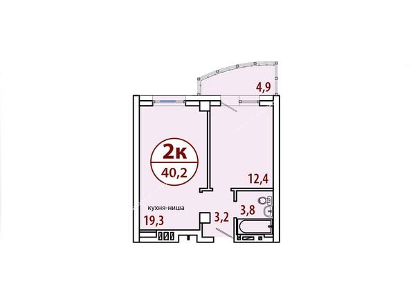 Планировки Жилой комплекс БЕЛЫЕ РОСЫ МКР, 22 дом - Секция №2. Планировка двухкомнатной квартиры 40,2 кв.м