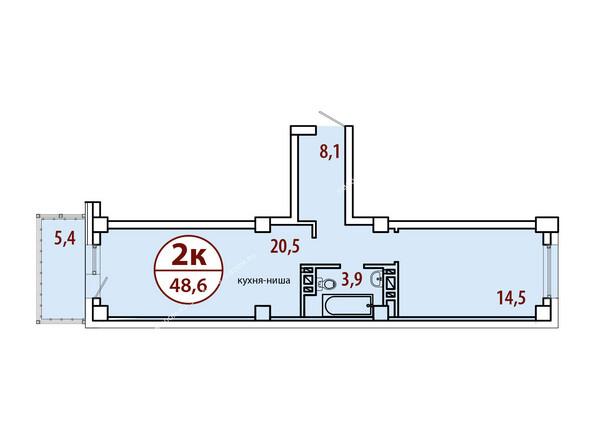 Планировки Жилой комплекс БЕЛЫЕ РОСЫ МКР, 22 дом - Секция №2. Планировка двухкомнатной квартиры 48,6 кв.м