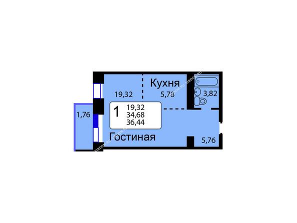 Планировки новостроек РЯБИНОВЫЙ САД ж/к, 3 оч, 2 этап - Б/С - 12. Планировка однокомнатной квартиры 36,44 кв.м. Этажи 1-9.
