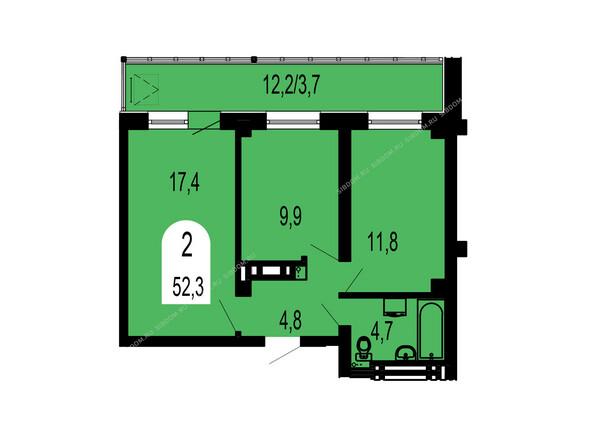 Планировки Жилой комплекс ТИХИЕ ЗОРИ мкр, 1 дом (Красстрой) - Планировка двухкомнатной квартиры 52,3 кв.м