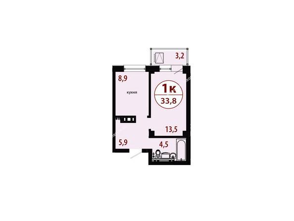 Планировки новостроек СЕРЕБРЯНЫЙ мкр, квр 1, 1 дом - Секция 1. Планировка однокомнатной квартиры 33,8 кв.м