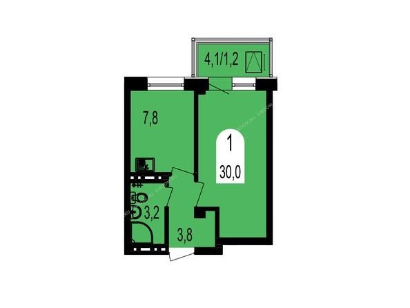 Планировки Жилой комплекс ТИХИЕ ЗОРИ мкр, 1 дом (Красстрой) - Планировка однокомнатной квартиры 30 кв.м