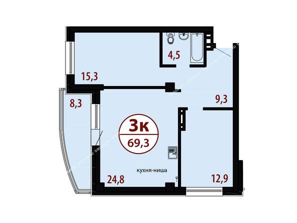 БЕЛЫЕ РОСЫ мкр, 26 дом: Секция №1. Планировка трехкомнатной квартиры 69,3 кв.м
