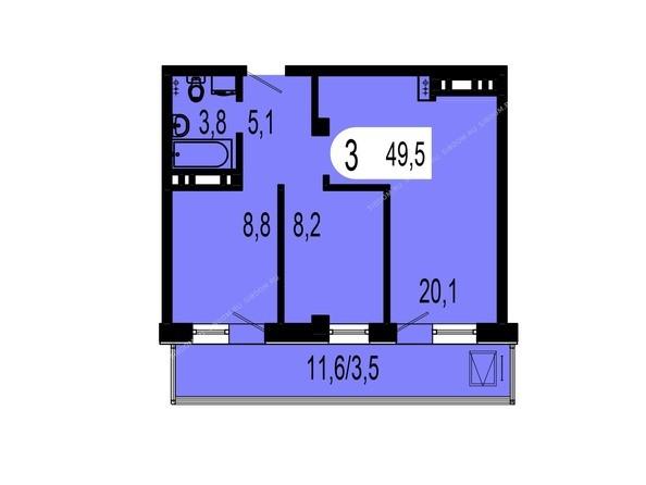 Планировки Жилой комплекс ТИХИЕ ЗОРИ мкр, 1 дом (Красстрой) - Планировка двухкомнатной квартиры 49,5 кв.м