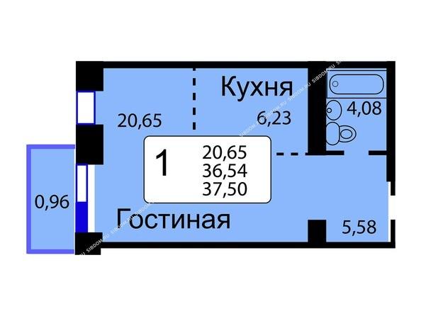 Планировки новостроек РЯБИНОВЫЙ САД ж/к, 3 оч, 2 этап - Б/С - 11. Планировка однокомнатной квартиры 37,50 кв.м. Этажи 10-16.