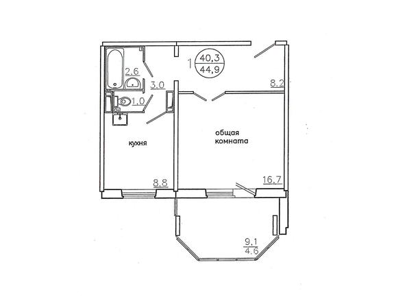 Планировки Жилой комплекс Караульная, 6 дом, 3 оч - Планировка однокомнатной квартиры 44,9 кв.м. (правая сторона)