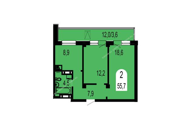 Планировки Жилой комплекс ТИХИЕ ЗОРИ мкр, 1 дом (Красстрой) - Планировка двухкомнатной квартиры 55,7 кв.м