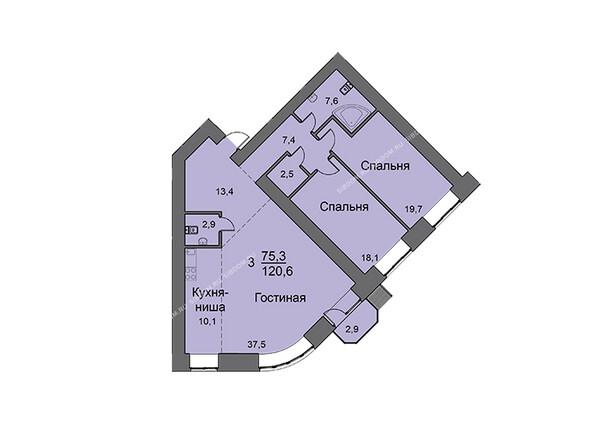 Планировки новостроек SKY SEVEN ж/к, ЛАЙНЕР Liner - Планировка трехкомнатной квартиры 120,4 кв.м