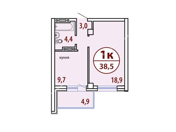 Планировки Жилой комплекс БЕЛЫЕ РОСЫ МКР, 22 дом - Секция №1. Планировка однокомнатной квартиры 38,5 кв.м