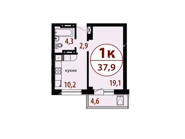 Планировки новостроек БЕЛЫЕ РОСЫ МКР, 25 дом - Секция 2. Планировка однокомнатной квартиры 37,9 кв.м