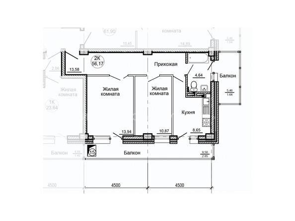 Планировки Жилой комплекс ГЛОБУС ж/к, 7 дом - Планировка двухкомнатной квартиры 56,17 кв.м