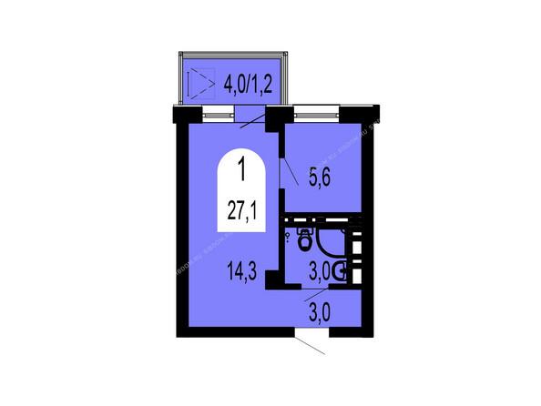 Планировки Жилой комплекс ТИХИЕ ЗОРИ мкр, 1 дом (Красстрой) - Планировка однокомнатной квартиры 27,1 кв.м