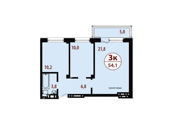 Планировки новостроек СЕРЕБРЯНЫЙ мкр, квр 1, 1 дом - Секция 3. Планировка трехкомнатной квартиры 54,1 кв.м