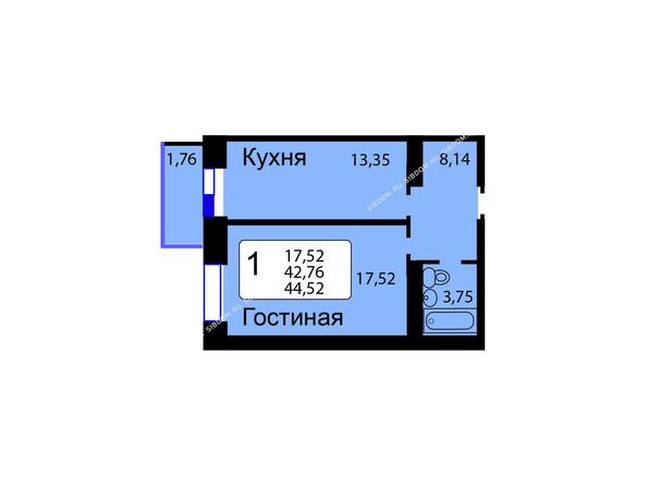 Планировки новостроек РЯБИНОВЫЙ САД ж/к, 3 оч, 2 этап - Б/С - 12. Планировка однокомнатной квартиры 44,52 кв.м. Этажи 1-9.