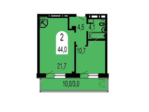 Планировки Жилой комплекс ТИХИЕ ЗОРИ мкр, 1 дом (Красстрой) - Планировка двухкомнатной квартиры 44 кв.м