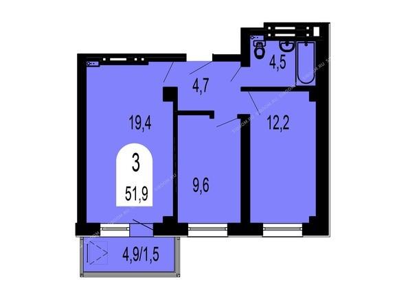 Планировки Жилой комплекс ТИХИЕ ЗОРИ мкр, 1 дом (Красстрой) - Планировка трехкомнатной квартиры 51,9 кв.м