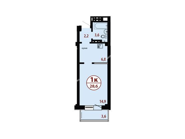 БЕЛЫЕ РОСЫ мкр, 26 дом: Секция №3. Планировка однокомнатной квартиры 28,6 кв.м