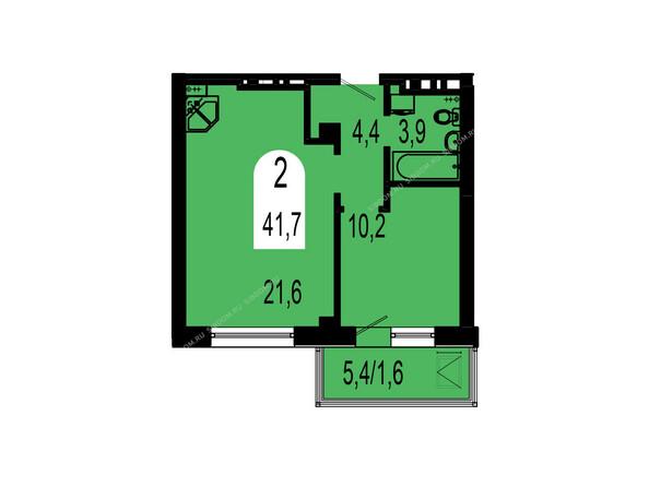 Планировки Жилой комплекс ТИХИЕ ЗОРИ мкр, 1 дом (Красстрой) - Планировка двухкомнатной квартиры 41,7 кв.м