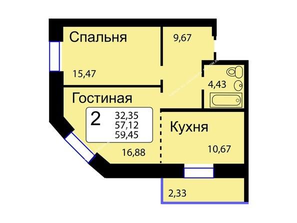 Планировки новостроек РЯБИНОВЫЙ САД ж/к, 3 оч, 2 этап - Б/С - 12. Планировка двухкомнатной квартиры 59,45 кв.м. Этажи 10-16.