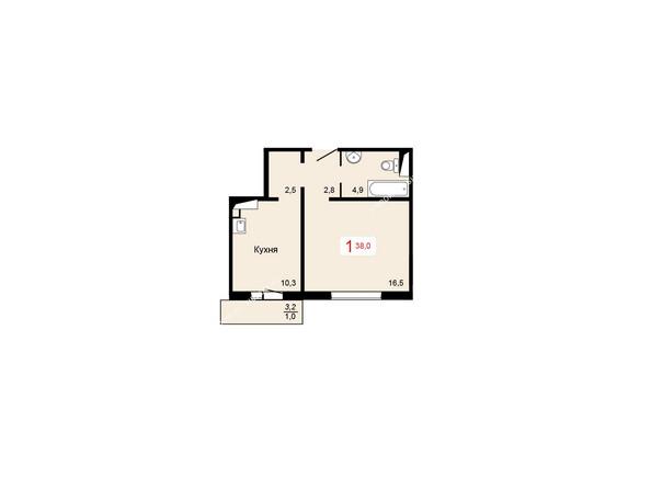 Планировки Жилой комплекс КУРЧАТОВА ж/к, 6 дом, 1 стр - 2 блок-секция. Планировка однокомнатной квартиры 38 кв.м