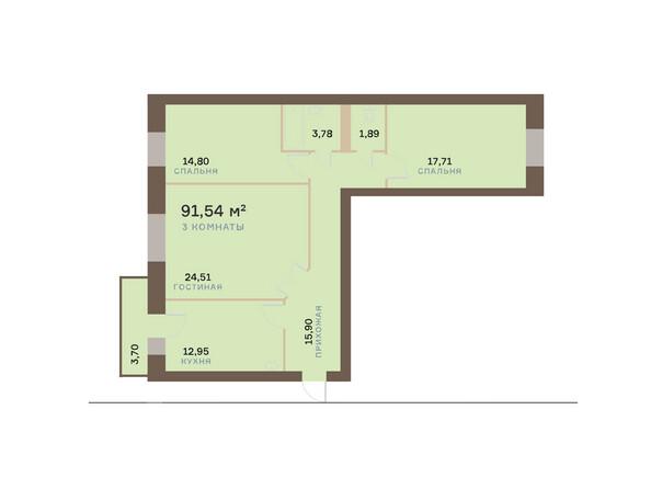 Планировки Жилой комплекс ЮЖНЫЙ БЕРЕГ мкр, 17 дом - Планировка трехкомнатной квартиры 92,65 кв.м