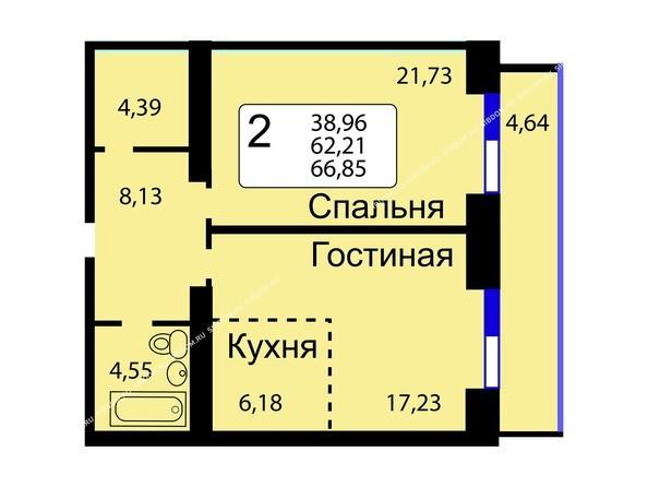 Планировки новостроек РЯБИНОВЫЙ САД ж/к, 3 оч, 2 этап - Б/С - 12. Планировка двухкомнатной квартиры 66,85 кв.м. Этажи 10-16.