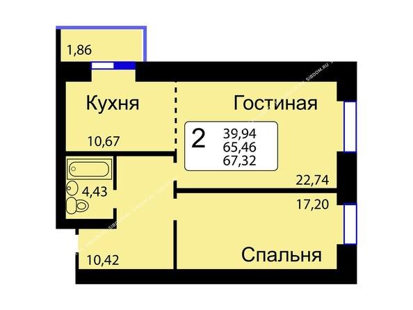 Планировки новостроек РЯБИНОВЫЙ САД ж/к, 3 оч, 2 этап - Б/С - 11. Планировка двухкомнатной квартиры 67,32 кв.м. Этажи 10-16.