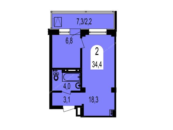 Планировки Жилой комплекс ТИХИЕ ЗОРИ мкр, 1 дом (Красстрой) - Планировка двухкомнатной квартиры 34,4 кв.м