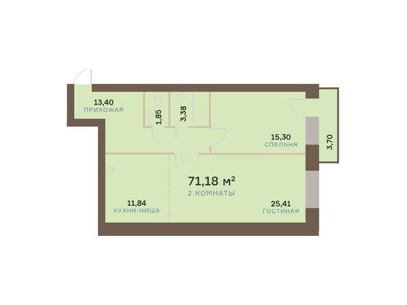 Планировки Жилой комплекс ЮЖНЫЙ БЕРЕГ мкр, 17 дом - Планировка двухкомнатной квартиры 72,29 кв.м