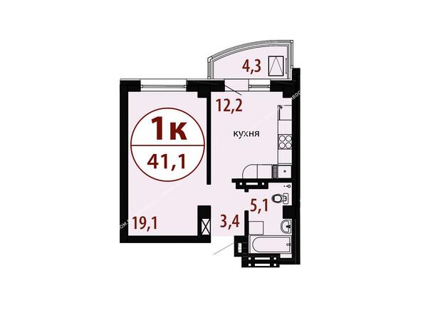 Планировки новостроек БЕЛЫЕ РОСЫ МКР, 25 дом - Секция 2. Планировка однокомнатной квартиры 41,1 кв.м