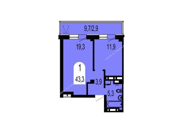 Планировки Жилой комплекс ТИХИЕ ЗОРИ мкр, 1 дом (Красстрой) - Планировка однокомнатной квартиры 43,3 кв.м
