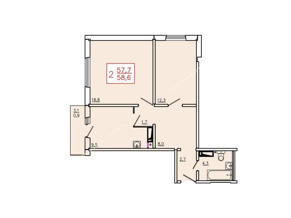 Планировка двухкомнатной квартиры 58,6 кв.м