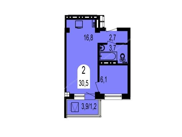 Планировки Жилой комплекс ТИХИЕ ЗОРИ мкр, 1 дом (Красстрой) - Планировка двухкомнатной квартиры 30,5 кв.м