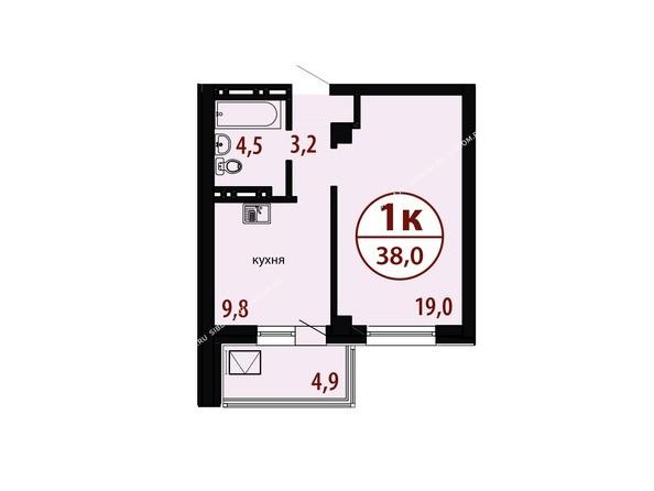 БЕЛЫЕ РОСЫ мкр, 26 дом: Секция №1. Планировка однокомнатной квартиры 38,0 кв.м