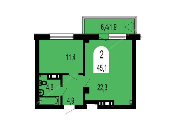 Планировки Жилой комплекс ТИХИЕ ЗОРИ мкр, 1 дом (Красстрой) - Планировка двухкомнатной квартиры 45,1 кв.м