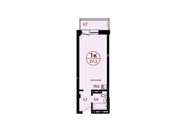 БЕЛЫЕ РОСЫ мкр, 26 дом: Секция №4. Планировка однокомнатной квартиры 27,2 кв.м