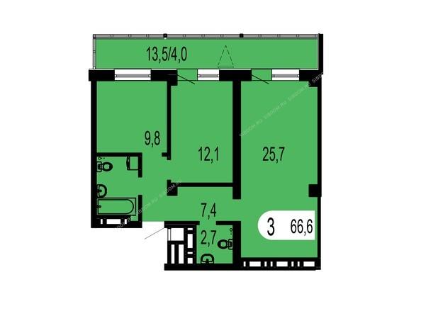Планировки Жилой комплекс ТИХИЕ ЗОРИ мкр, 1 дом (Красстрой) - Планировка трехкомнатной квартиры 66,6 кв.м