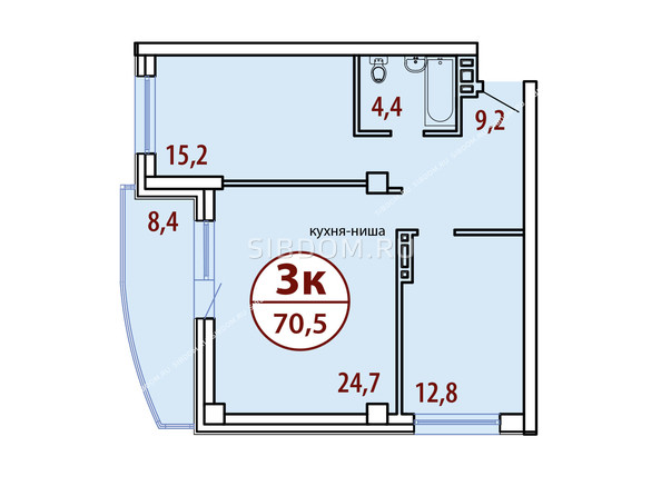 Планировки Жилой комплекс БЕЛЫЕ РОСЫ МКР, 22 дом - Секция №1. Планировка трехкомнатной квартиры 70,5 кв.м