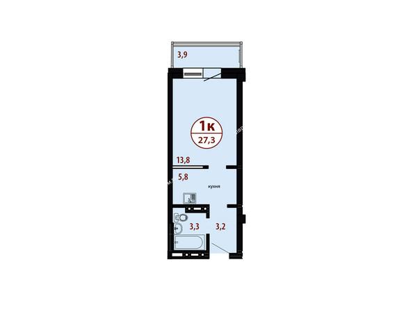 БЕЛЫЕ РОСЫ мкр, 26 дом: Секция №4. Планировка однокомнатной квартиры 27,3 кв.м